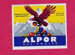 """BARCELONNETTE - ETIQUETTE BRASSERIE ALPINE -  """"ALPOR Aux Fruits"""""""" - Labels"""
