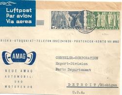 """Luftpost Paketadresse  """"AMAG, Automobil-/Motoren AG, Zürich"""" - Detroit              1946 - Briefe U. Dokumente"""