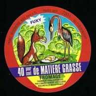 """Etiquette Fromage Fuxy Fabriqué Dans Les Vosges Union Laitiere Vittelloise Bulgneville 88 """"renard Et Cigogne?"""" - Fromage"""
