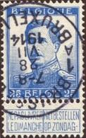 "COB  125 (o)  Oblitération ""Brussel Bruxelles 1 A "" T4R - 1912 Pellens"