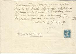 Utilisation Fiscale D'un Timbre Postal Type Semeuse - Fiscaux