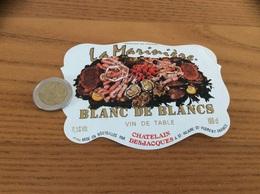 Etiquette «VIN DE TABLE - BLANC DE BLANCS -La Marinière- ST-HILAIRE-ST-FLORENT (49)» (fruits De Mer, Coquillage, Huître) - Blancs