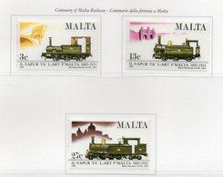 Malta - 1983 - Centenario Della Ferrovia A Malta - 3 Valori - Nuovi - Vedi Foto - (FDC13872) - Malte