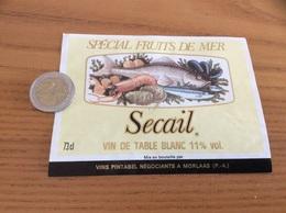 Etiquette «VIN DE TABLE - Sécail - Spécial Fruits De Mer - PINTABEL - MORLAAS (64)» (coquillage, Huître) - Blancs