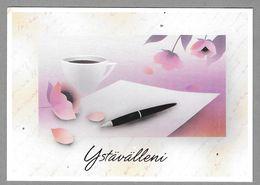 Postal Stationery Red Cross Finland (SPR 21) Coffee Cup Pen Paper (Valentine's Day) Illustr. Jaana Aalto - Used - Finlande
