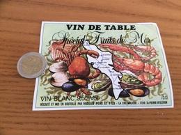 Etiquette *«VIN DE TABLE- Fruits De Mer -VIDEAU- ST-PIERRE D'OLERON (17)» Coquillage, Moule, Huître, Carte île D'Oleron - Etiquettes