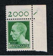 REGNO:  1929  IMPERIALE  -   £. 20  VERDE-GIALLO  N. -  SASS. 259 - 1900-44 Victor Emmanuel III