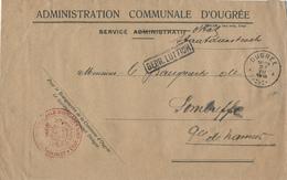 318/28 - LIEGE 14/18 - Enveloppe En Franchise Administration Communale OUGREE 1918 Vers SOMBREFFE - Censure LUTTICH - Guerre 14-18