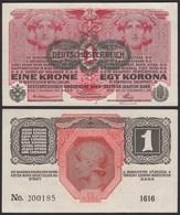 ÖSTERREICH - AUSTRIA 1 Krone Banknote 1916 (1919) UNC Pick 49 (19820 - Oostenrijk