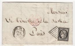 LOT 1655-6/ N°3a OBL. GRILLE + Cad Varenne -en-Agonne 26 Avril 50 + Cachet Paris Franchise  P/ PARIS - 1849-1876: Classic Period