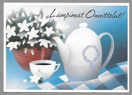 Postal Stationery Red Cross Finland (SPR 22) Coffee Cup Coffee Pot Wood Anemone Illustr. Jaana Aalto - Used - Finlande