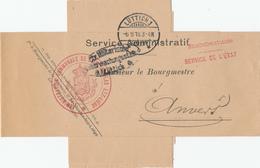 319/28 - LIEGE 14/18 - Bande D' IMPRIME Administration Communale De ST NICOLAS Lez Liège - LUTTICH 1916 + Censure Dito - Guerre 14-18