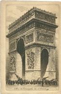 75 CPA Paris Gravure Eau Forte Arc De Triomphe Etoile Charles Pinet Graveur N° 39 - France