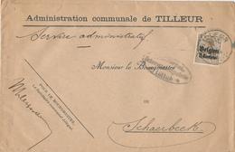 320/28 - LIEGE 14/18 - Enveloppe Affranchie IMPRIME - Entete Administration Communale TILLEUR  - Censure LUTTICH - Guerre 14-18