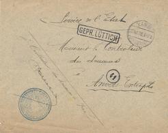 321/28 - LIEGE 14/18 - Enveloppe En Franchise Controleur Des Douanes à VISE 1916  - Censure Encadrée LUTTICH - Guerre 14-18