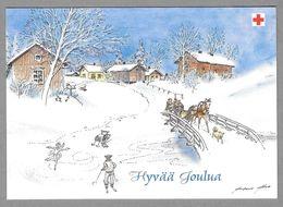 Postal Stationery Red Cross Finland - Countryside Horse Sleigh Dog Children Skiing Skating Illustr. Antero Aho - Used - Finlande