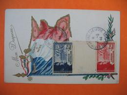 Carte Maximum France 1942 N° 565 - 566 Pour La Légion Tricolore - Mon Drapeau - Honneur Et Patrie Cachet Exposition - Cartes-Maximum