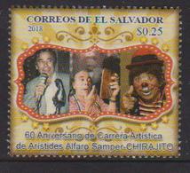 """EL SALVADOR , 2018, MNH, ARISTIDES ALFARO SAMPER, """"CHIRAJITO THE CLOWN"""", CLOWNS, ARTISTS,  1v - Art"""