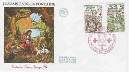 FRANCE 1978 FDC YT 2024-2025 Mi 2129 2130 FAIRY TALES MÄRCHEN CONTES DE FÉES  FABLES LA FONTAINE RED CROSS CORIX ROUGE - Fairy Tales, Popular Stories & Legends