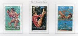 Malta - 1984 -Giochi Olimpici Di Los Angeles - 3 Valori - Nuovi - Vedi Foto - (FDC13880) - Malte