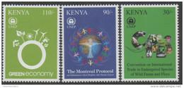 KENYA  ,2012, MNH, UNEP, TURTLES, FISH, LEMURS, CROCODILES, BIRDS, 3v - Turtles