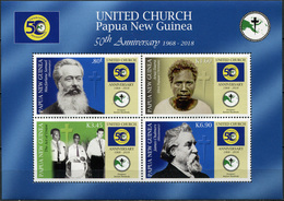 Papua New Guinea. 2018. 50th Anniversary Of United Church In Papua New Guinea (MNH OG **) Miniature Sheet - Papouasie-Nouvelle-Guinée