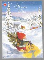 Postal Stationery Red Cross Finland - Elf Christmas Tree Lantern Lutin Zwerg Illustr. Tarja Senne - Used - Finlande