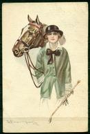 CARTOLINA - Z986 ILLUSTRATORI BOMPARD Donna Con Cavallo, FP, Viaggiata 1924 Da Lecco Per Roma, Qualche Pieghina, Sennò - Bompard, S.