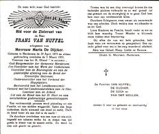 DOODSPRENTJE FRANS VAN NUFFEL ° HERDERSEM 1875 + 1955 OUD BURGEMEESTER VAN HERDERSEM ( Nu Aalst )  HOP - Images Religieuses