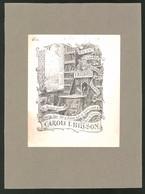 Exlibris Caroli I. Billson, Bücherregale Und Wappen - Exlibris