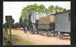 AK Dampfbetriebener Traktor Zieht Planwagen - Oorlog 1914-18