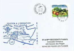 France 2010 BPI 610 Djibouti BCR Somme Operation Atalanta Anti-piracy Naval Cover - Postmark Collection (Covers)
