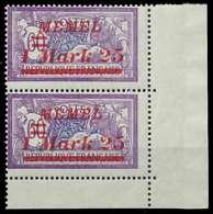 MEMEL 1922 Nr 65 Postfrisch SENKR PAAR ECKE-URE X887C7A - Memelgebiet