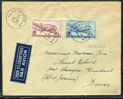 BELGIQUE - PA N° 8 & 9 / LETTRE AVION D'ANTWERPEN LE 12/4/1946 POUR LA FRANCE - TB - Luchtpost