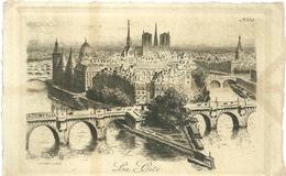 75 CPA Paris Gravure Eau Forte La Cité Pont Neuf   Pinet Graveur N° 33 - France