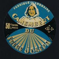 """Etiquette Fromage Camembert Du Frere Joseph""""moine"""" Fabriqué En Lorraine  Hurault Dieppe Meuse 55 - Fromage"""
