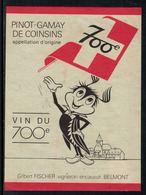 Rare // Etiquette De Vin // 700ème De La Confédération // Pinot-Gamay, Vin Du 700ème - 700ème De La Confédération Helvétique