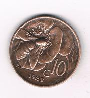 10  CENTESIMI 1922 R    ITALIE /0522/ - 1861-1946 : Royaume