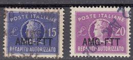 TRIESTE  Zona A AMG-FTT - 1949/1954 - Serie Completa Usata Recapito Autorizzato Yvert 9/10. - 7. Triest
