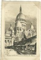 75 CPA Paris Gravure Eau Forte Basilique Sacree Coeur Rue De La Barre  Pinet Graveur N° 31 - Sacré Coeur