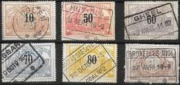 TR15 (obl OOLEN), TR21 (obl HUY-SUD), TR22 (obl GHEEL), TR23 (obl ...SSAR...), TR24 (obl ANVERS), TR26 (obl BRUXELLES) - Chemins De Fer