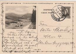 Tchécoslovaquie Entier Postal Illustré Pour L'Autriche 1938 - Interi Postali