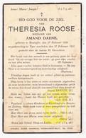 DP Theresia Roose ° Lo Reninge 1858 † Ieper 1937 X Amand Daene - Images Religieuses
