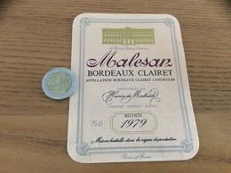 Étiquette Vin 1979 «BORDEAUX CLAIRET - Henri De Malesan - LORMONT (33)» - Bordeaux