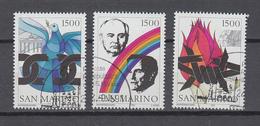 San Marino  1991 ,  Michel Nr:  1484/86,  Marken Aus Block 14   Gestempelt/used,  CEPT Mitläufer - Europäischer Gedanke