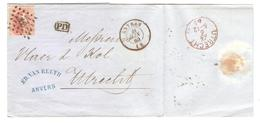 PR6222/ TP 16 S/LAC Ed.Van Reuth Anvers C.Anvers 11/6/1865 LOS 12 V.Utrecht C.d'arrivée - Postmarks - Points