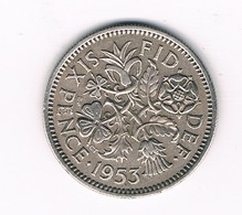 6 PENCE 1953  GROOT BRITANNIE /0528// - 1902-1971 : Monnaies Post-Victoriennes