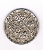 6 PENCE 1954  GROOT BRITANNIE /0529// - 1902-1971 : Monnaies Post-Victoriennes