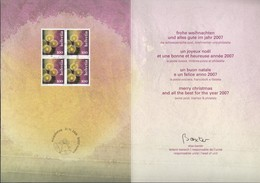 SCHWEIZ 1992 Viererblock Auf Offizieller Glückwunschkarte Weihnachten 2006, Adventskranz - Storia Postale