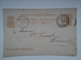 1879 CARTE POSTALE.10c De LUXEMBOURG VERS ENSIVAL. - Stamped Stationery